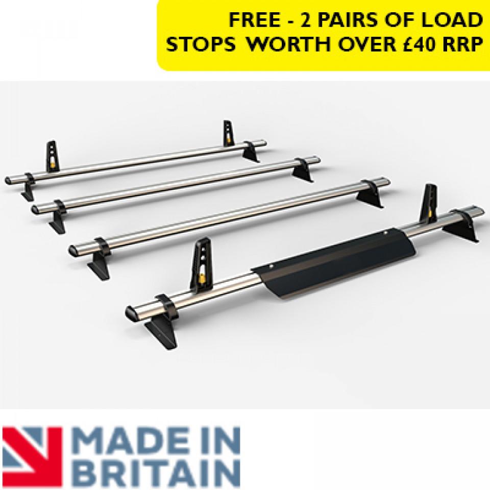 4 Van Guard Aluminium Roof Bar Kit for LCVs incl. wind deflector